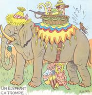 CPA à Système Pliable 18,5 Cm X 9 Cm Humour Illustrateur ROB VEL ROBERT PIERRE VELTER Un éléphant ça Trompe énormément ! - Robert