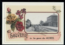 ACHEL   ...... Gare 2 Cartes Souvenirs  Creation Moderne Série Limitée CPM - Hamont-Achel
