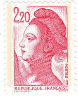 YT 2376 - Liberté 2,20 Rouge Type Ll Papier Couché ** - Errors & Oddities