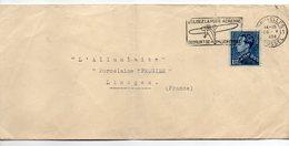 """Belgique-1938-Lettre De Bruxelles Pour LIMOGES(France)-timbre Seul Sur Lettre-cachet """"Utilisez La Poste Aérienne""""-avion - Norvège"""