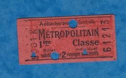 Ticket Ancien De Métro - S 001 K - 1ére Classe - Métropolitain - Billet Individuel 2 Voyages - N° 61213 - Paris - Métro