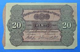 Italia Raro 20 Lire Banca Di Valdinievole In Pescia Fiduciario 1870 R5 PS961r QBB - [ 1] …-1946 : Regno