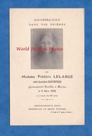 Faire Part De Décés - REIMS - Louise COURTOIS épouse De Frédéric LELARGE Manufacturier Rémois , Décédée En 1922 - Esquela