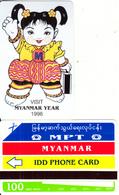 MYANMAR - Visit Myanmar Year 1996(reverse B-100 Units), Tirage 15000, Mint - Myanmar