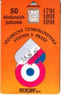 CZECHOSLOVAKIA - Vystava V Praze, Telecart A.s. First Issue 50 Units, Chip SC6, Tirage %20000, 06/91, Used - Tchécoslovaquie