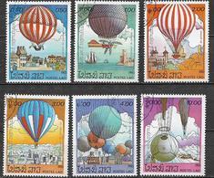 LAOS  1983 PRIMA ASCENSIONE DELL'UOMO NELLA ATMOSFERA YVERT. 475-480 USATA VF - Laos