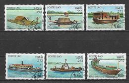 LAOS  1982 NAVIGAZIONE SUL FIUME YVERT. 412-417 USATA VF - Laos