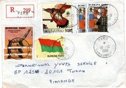 BURKINA  FASO,   Registered Letter,  Bird   /    Lettre Recommandée,  Oiseau   1990 - Vögel