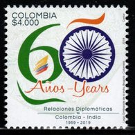 A069- COLOMBIA- KOLUMBIEN- 2019. MNH - COLOMBIA-INDIA 60 YEARS RELATIONSHIPS - Colombia