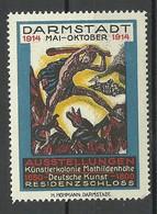 GERMANY 1914 Künstlerkolonien Mathildenhöhe Kunst Art Ausstellungen Residenzschloss Werbemarke MNH - Erinnophilie