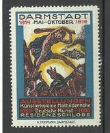 GERMANY 1914 Künstlerkolonien Mathildenhöhe Kunst Art Ausstellungen Residenzschloss Werbemarke MNH - Cinderellas