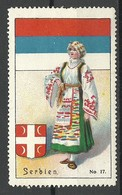 SERBIA Serbien Vignette Folk Costumes Trachten Flag Flagge Vignette Poster Stamp - Serbie