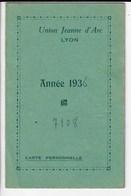 2 Cartes Union Jeanne D'Arc Lyon, Année 1936  (R36) - Tickets D'entrée