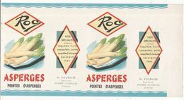 Publicité, 29 X 15, ROC, étiquette, Asperges, M. BOURNIER, Fabricant , Scorbé Clairvaux , Vienne, Frais Fr : 1.75e - Publicités