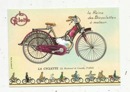 Cp, COLLECTION LES ANCETRES DE L'AUTOMOBILE , La Reine Des Bicyclettes à Moteur ,LA CYCLETTE ,Paris - Motorräder