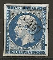 FRANCE - N° 14A - 20 CENTIMES BLEU Oblitéré PC 457 - Exemplaire Choisi - 1853-1860 Napoléon III