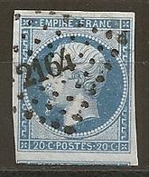 FRANCE - N° 14B - 20 CENTIMES BLEU Oblitéré PC 2164 - Exemplaire Choisi - 1853-1860 Napoléon III