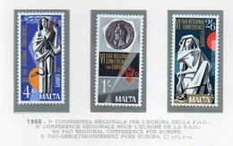 Malta - 1968 - 6^ Conferenza Regionale Per L'Europa Della F.A.O. - 3 Valori - Nuovi - Vedi Foto - (FDC14019) - Malta