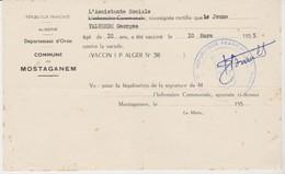 Certificat De Vaccination Par La Mairie De Mostaganem (Algérie), 10/3/1955 - Documentos Históricos