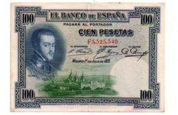 Espagne - 100 Pesetas De 1925-F5-voir état - [ 1] …-1931 : Premiers Billets (Banco De España)