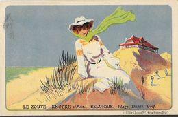 Illustration Non Signée 1936 - Le Zoute, Knocke Sur Mer (Belgique): Plage, Dunes, Golf - Carte A & G Bulens - Künstlerkarten