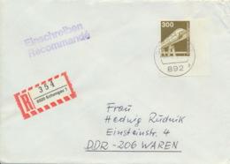 BRD 1138 Eckrand Mit Plattennummer Auf R-Brief In Die DDR - BRD