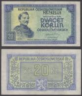 Czechoslovakia 20 Korun 1945 (VF++) Condition Banknote P-61 - Cecoslovacchia