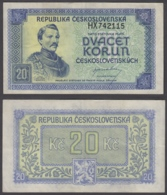 Czechoslovakia 20 Korun 1945 (VF++) Condition Banknote P-61 - Tchécoslovaquie