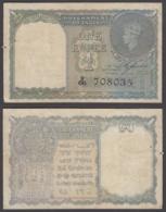 India 1 Rupee 1940 (F-VF) Condition Banknote KGVI KM #25a W/H Black - India
