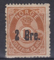 NORVEGE  1893:  Le 2 O. Sur 12 O. , Neuf * - Noorwegen
