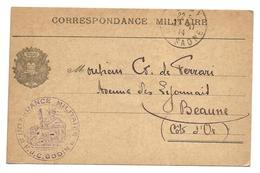 Guerre 14 18  GRAY Haute Saône Cachet Violet INTENDANCE MILITAIRE F.J.C.GODIN 1914   .. ..G - Storia Postale