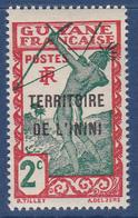Timbre-poste Gommé Neuf** - Timbre De Guyane De 1929 Surchargé - Indigène Tirant à L'arc - N° 2 (Yvert) - Inini 1932 - Inini (1932-1947)