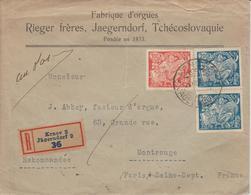 Lettre Recommandée De Tchécoslovaquie Fabrique D'Orgues Pour La France 1924 - Cartas