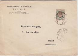 Lettre D'Italie Ambassade De France Pour Paris 1925 Oblit. Modane à Dijon - 1921-1960: Periodo Moderno
