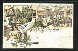 Lithographie Schützenfest, Bürger-Bräu, Festplatz Mit Hippodrom - Chasse