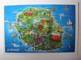 FRANCE - LA REUNION - Carte De L'Ile - La Réunion