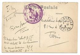 Guerre 14 18 VILLEFRANCHE SUR MER Alpes Maritimes Sur Cpa La Gare Cachet Violet MARINE FRANCAISE SERVICE A LA MER = ..G - Marcophilie (Lettres)