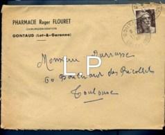 1924  Marcophilie -  Publicité  Pharmacie  Roger Flouret Gontaud (lot & Garonne ) 11-04-1948  N°-3741 - Advertising