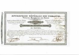 75-URBAINES. ENTREPRISE GENERALE DES ...VOITURES BOURGEOISES SOUS REMISE. 1838 - Other