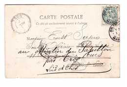 Cachet Jour De L' An 1.1.1904 Granville Manche , Type Blanc Sur Carte Cpa 1904 Mes Meilleurs Souhaits - Marcophilie (Lettres)