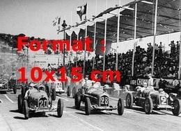 Reproduction D'une Photographie Ancienne D'une Bugatti Type 59 Au Grand Prix De Nice En 1934 - Repro's