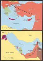 Postcards(2): Map Of Levant With British Post Offices & Map Of Persian Gulf Showing Areas That Issued Overprinted Stamps - Poste & Facteurs
