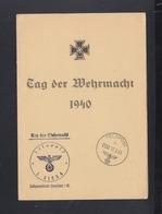Dt. Reich Faltblatt Tag Der Wehrmacht 1940 Feldpoststempel L 31554 - Storia Postale