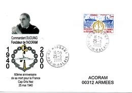 AVISO CDT DUCUING 60ème Anniversaire De Sa Mort Pour La France Obl. Missant 25/05/00 - Poste Navale