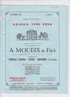 PUB - CATALOGUE DE VINS DE BORDEAUX - POMEROL - A.MOUEIX & FILS - CHATEAU TAILLEFER - LIBOURNE - 1976  - 5 PAGES - Alcools