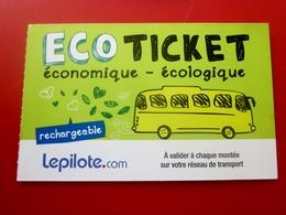 ECO TICKET AUTOBUS TRAMWAY-TOURS RECHARGEABLE -ESITERIOPHILIE -TITRE TRANSPORT-Trip-Billet,Biglietto,Eintrittskarte - Tram