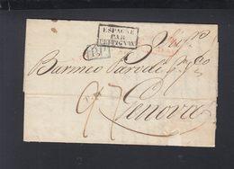 Spanien Faltbrief 1838 Cadiz Nach Genova - Spagna