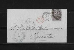 1867 Grossbritannien PD-Brief London - Trieste - 1840-1901 (Victoria)