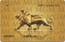 Carte De Membre Casino : MGM Grand Macau Macao : Gold Sans Lion Au Dos - Cartes De Casino