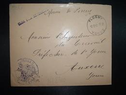 LETTRE MAIRIE DE PERCEY OBL. HOROPLAN 12-2 1942 FLOGNY YONNE (89) à Mr L'Inspecteur Du Travail AUXERRE - WW II